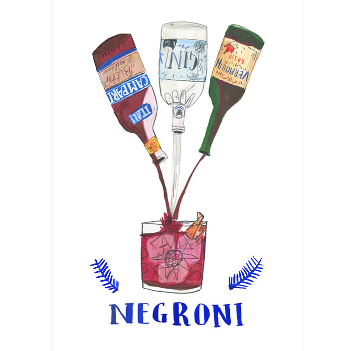 Negroni Cocktail A4 Art Print