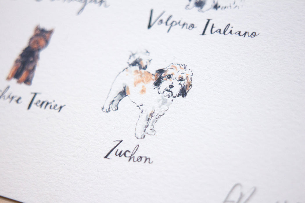 A4 A to Z of Dogs Art Print