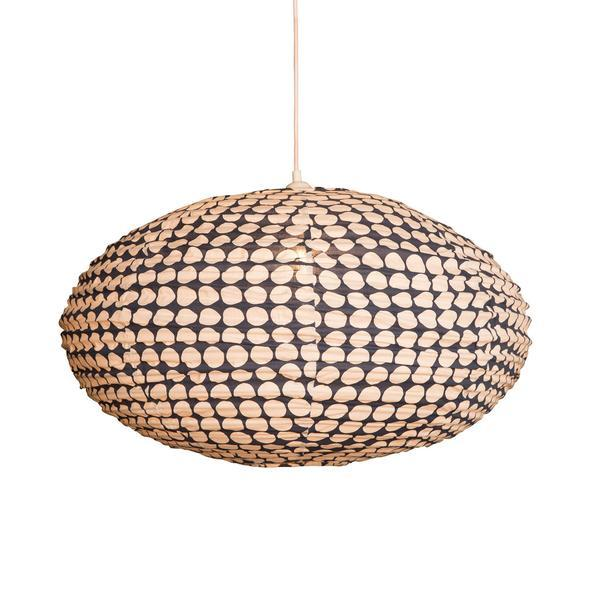 Large 80cm Navy Blue and Cream Dot Cotton Pendant Lampshade