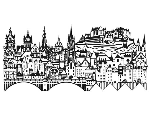 Edinburgh Skyline Hand Pulled Screen Print