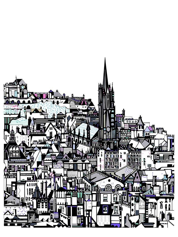 Small Edinburgh City print by Susie Wright