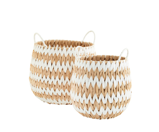 Set Of Two Natural And White Wicker Baskets