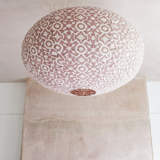 Small 60cm Cream and Plaster Pink Eva Cotton Pendant Lampshade