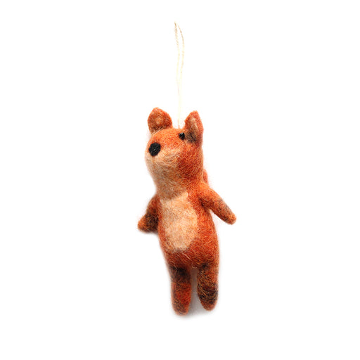 Small Orange Wool Christmas Fox Ornament