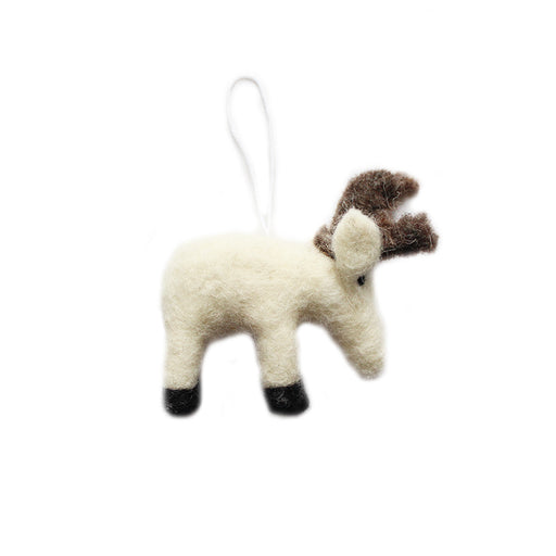 Small White Wool Christmas Caribou Ornament