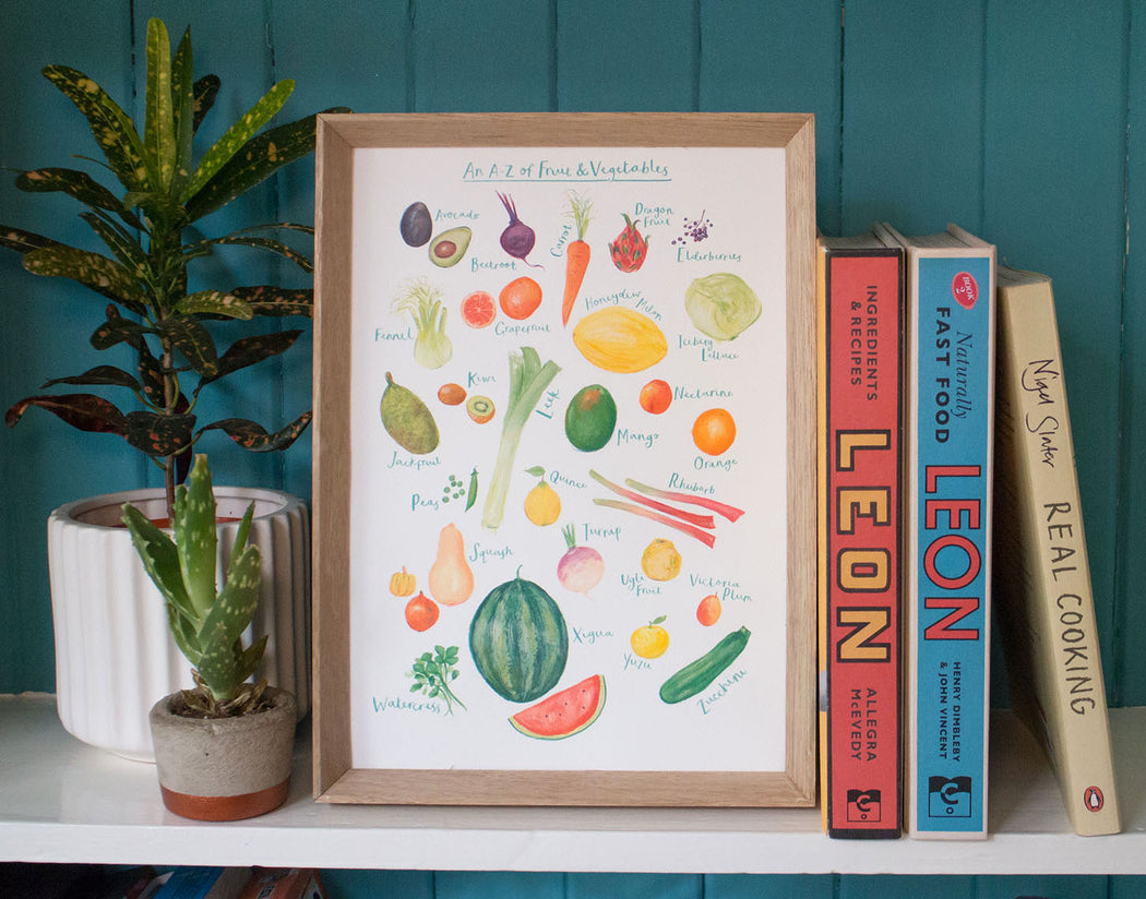 A4 A to Z of Fruit & Vegetables Art Print