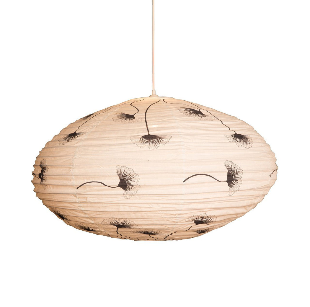 Large 80cm Black and Cream Ginkgo Cotton Pendant Lampshade