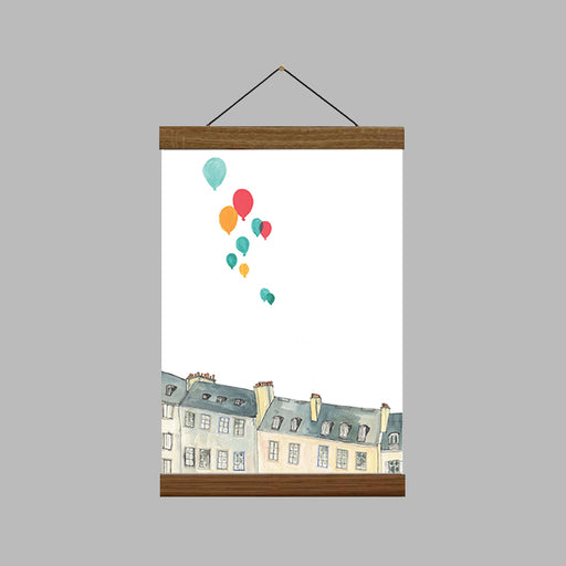 A4 Buildings And Balloons Art Print