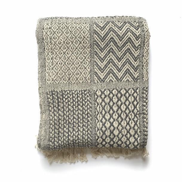 Grey and Cream Patchwork Recycled Cotton Throw