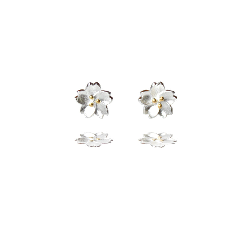 Sterling Silver Cherry Blossom Stud Earrings with Golden Centre