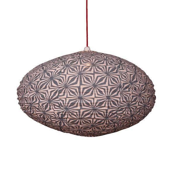 Large 80cm Grey and Cream Hima Cotton Pendant Lampshade