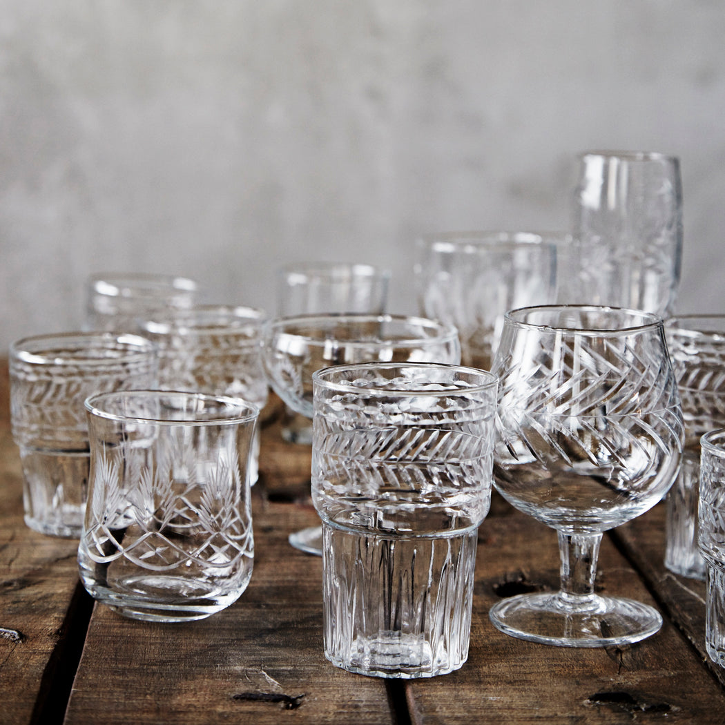 Clear Cut Glass Wine Glass