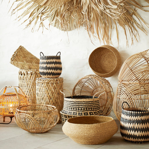 Set Of Two Natural And Black Baskets