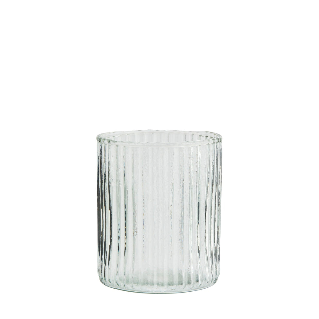 Clear Drinking Glass With Grooves