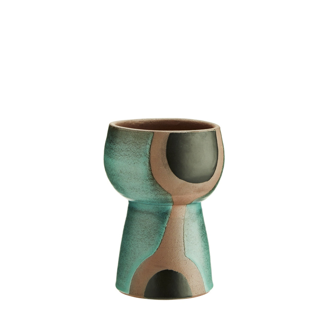 Green , Black And Terracotta Vase