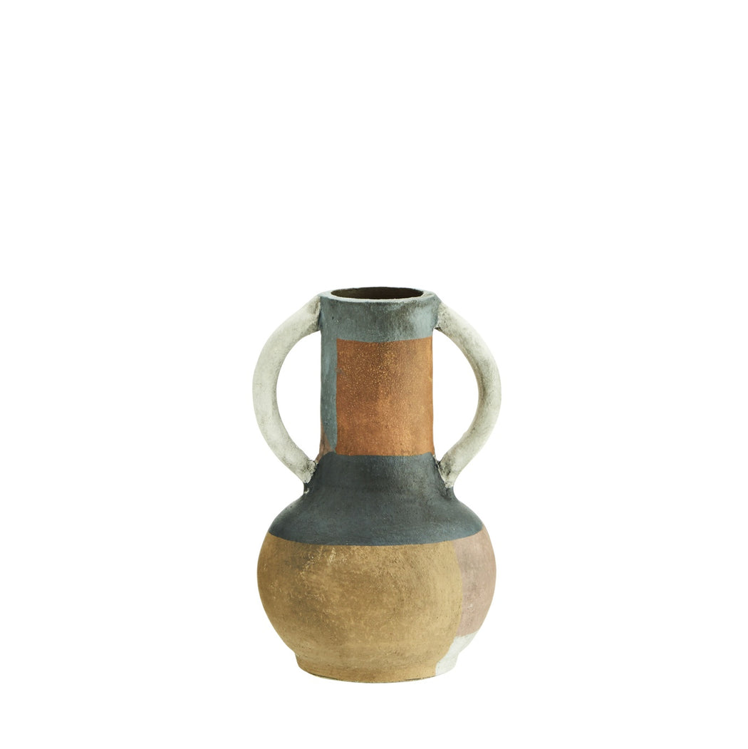 Dusty Blue, Rose & Grey Terracotta Vase