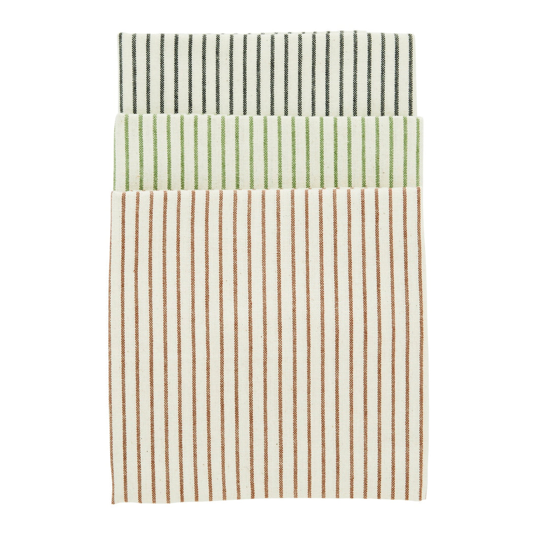 Set Of Three Striped Tea Towels