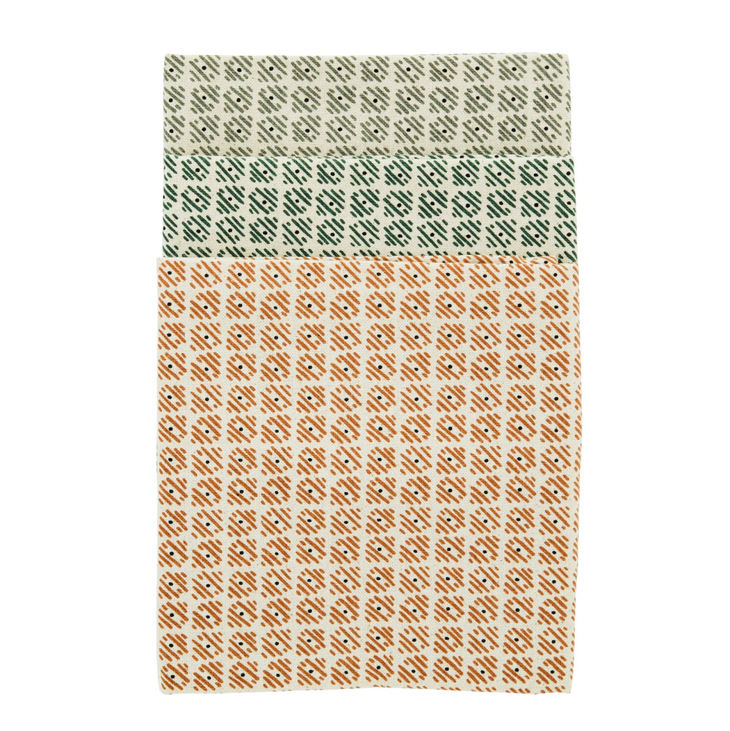 Set Of Three Wood Block Printed Tea Towels