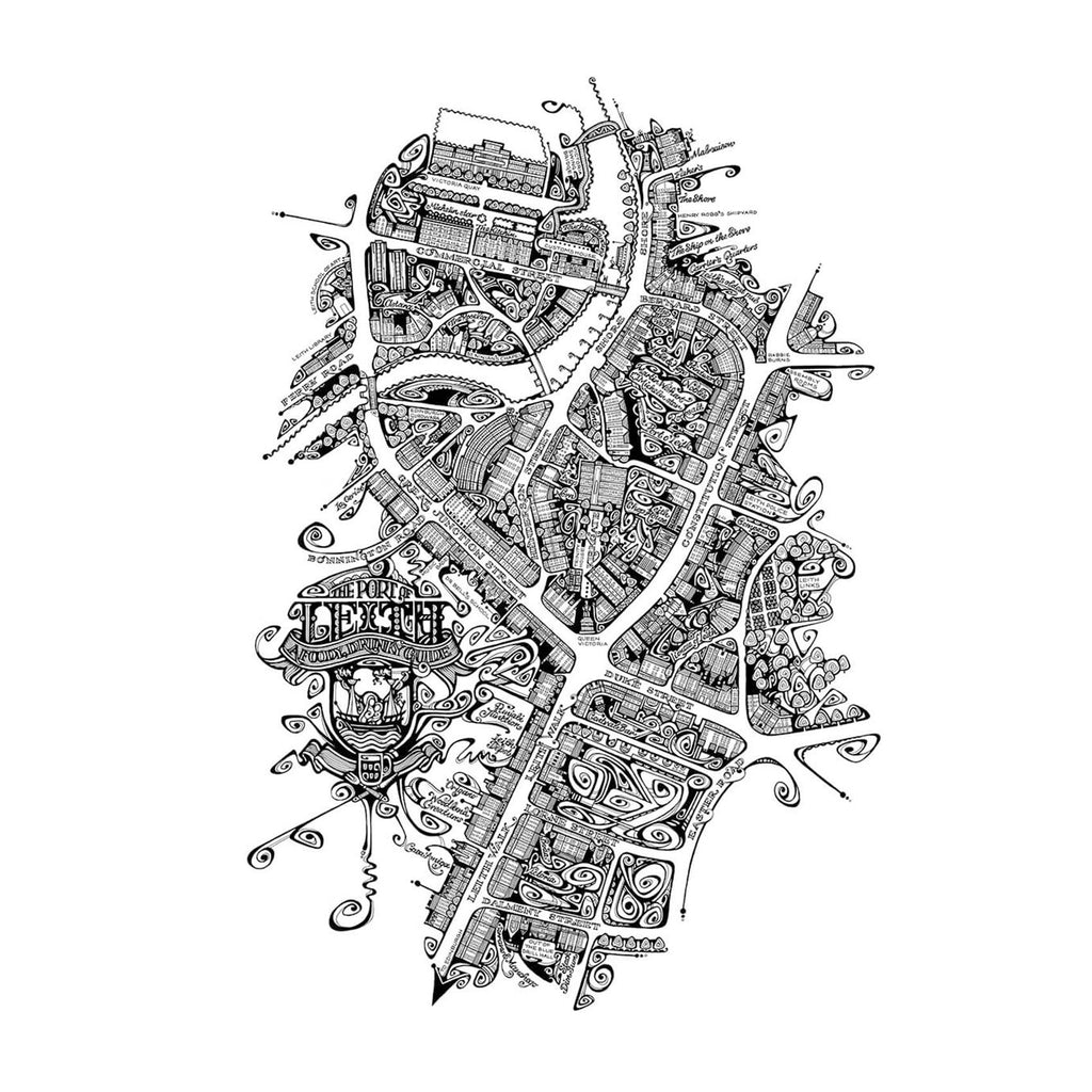 Map of Leith in Black & White by Jenny Proudfoot