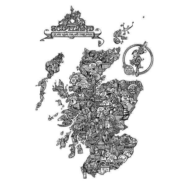 Map of Scotland in Black & White by Jenny Proudfoot