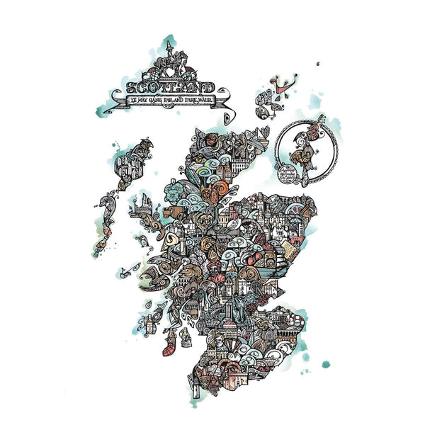 Map of Scotland in colour by Jenny Proudfoot