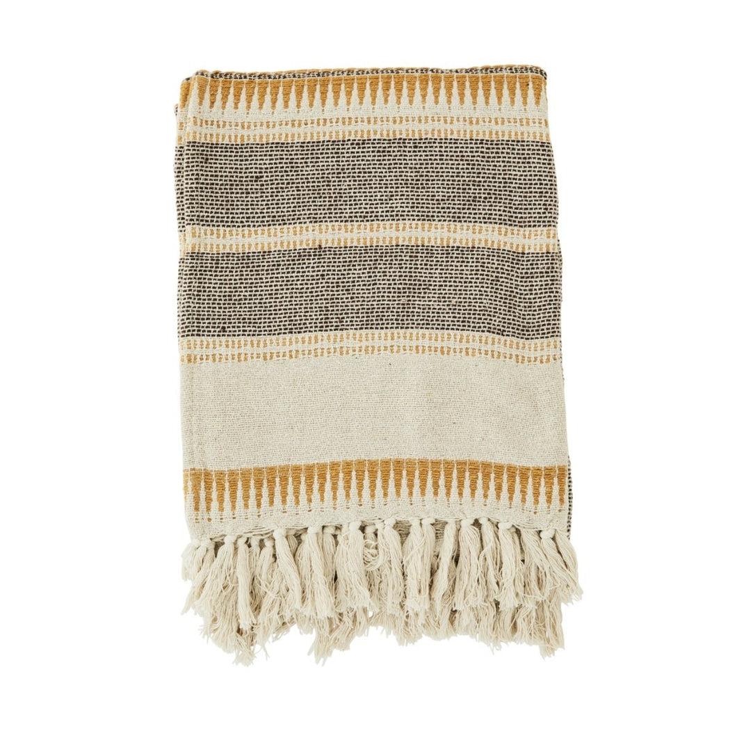 Brown, Mustard And Cream Woven Recycled Cotton Throw