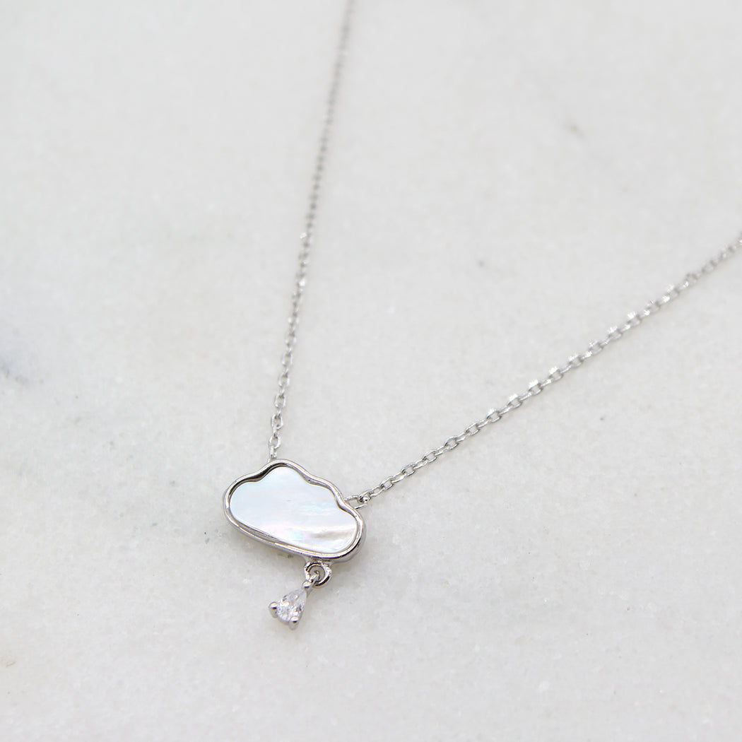 Sterling Silver Cloud and Raindrop Necklace