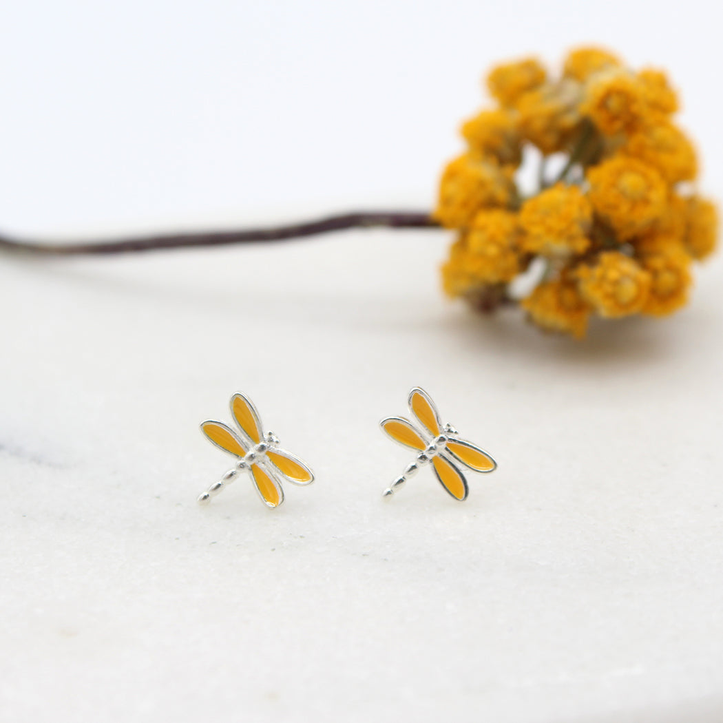 Enamel Sterling Silver Dragonfly Stud Earrings