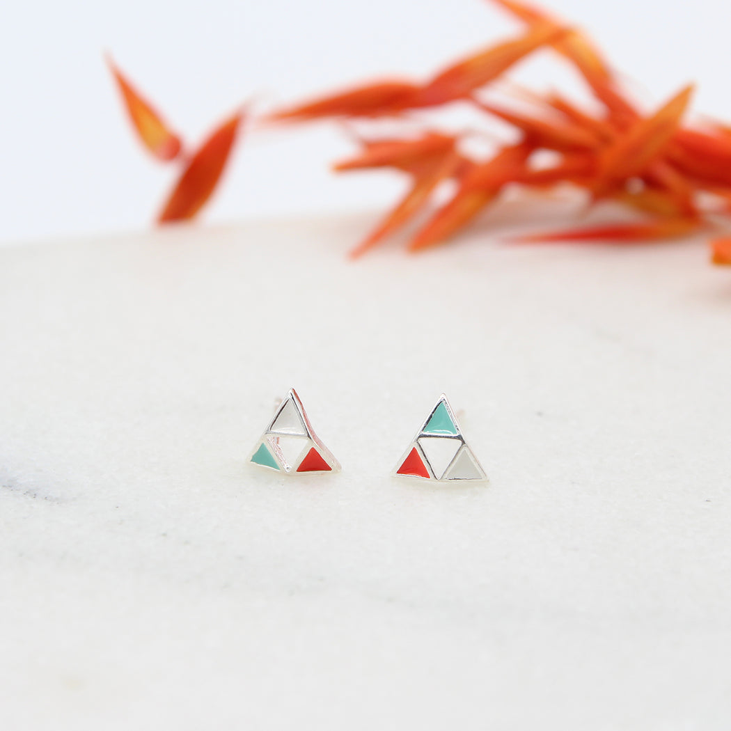 Enamel Sterling Silver Triangles Stud Earrings