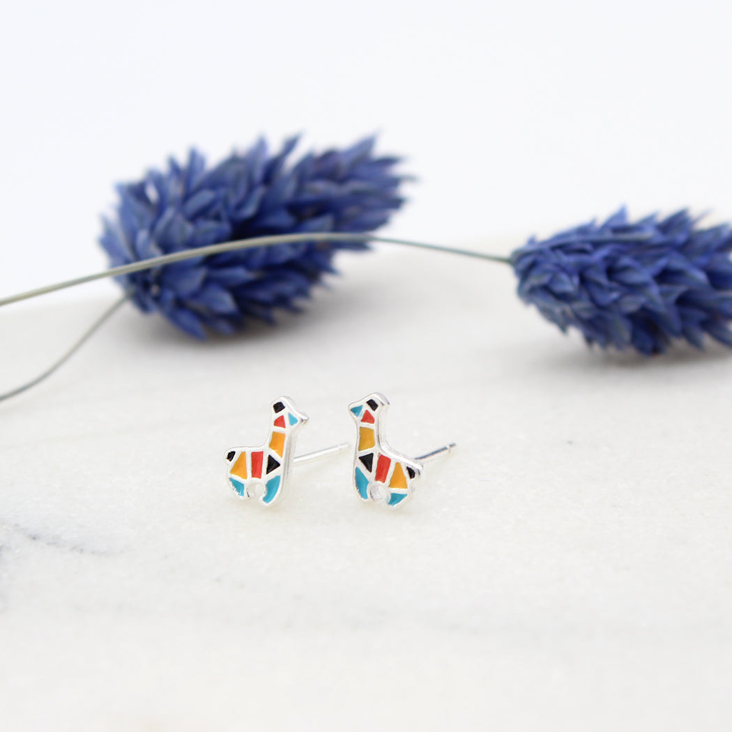 Enamel Sterling Silver Llama Stud Earrings