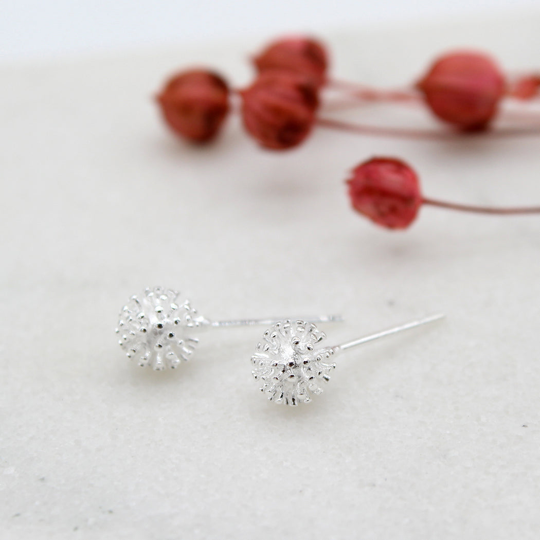 Sterling Silver Dandelion Stud Earrings