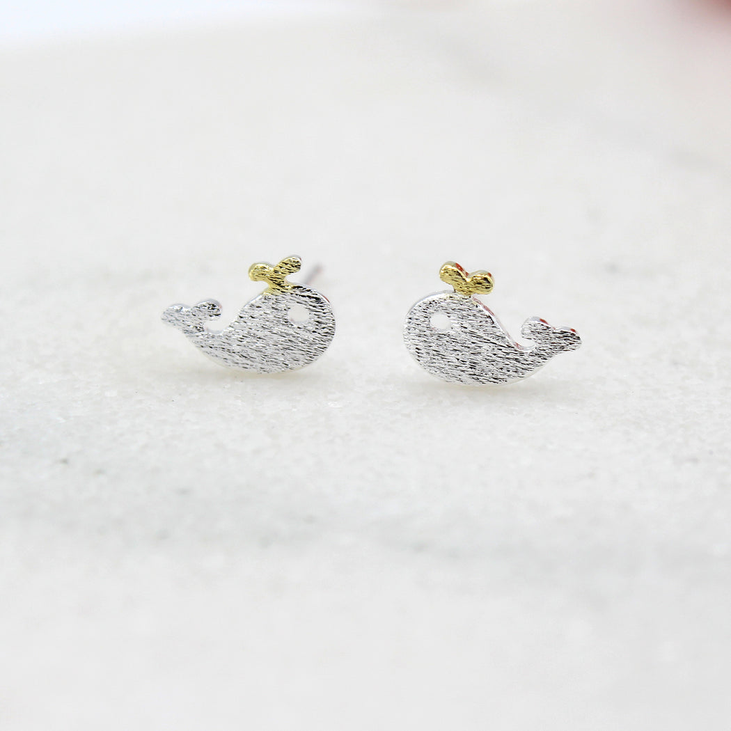 Sterling Silver Whale Stud Earrings