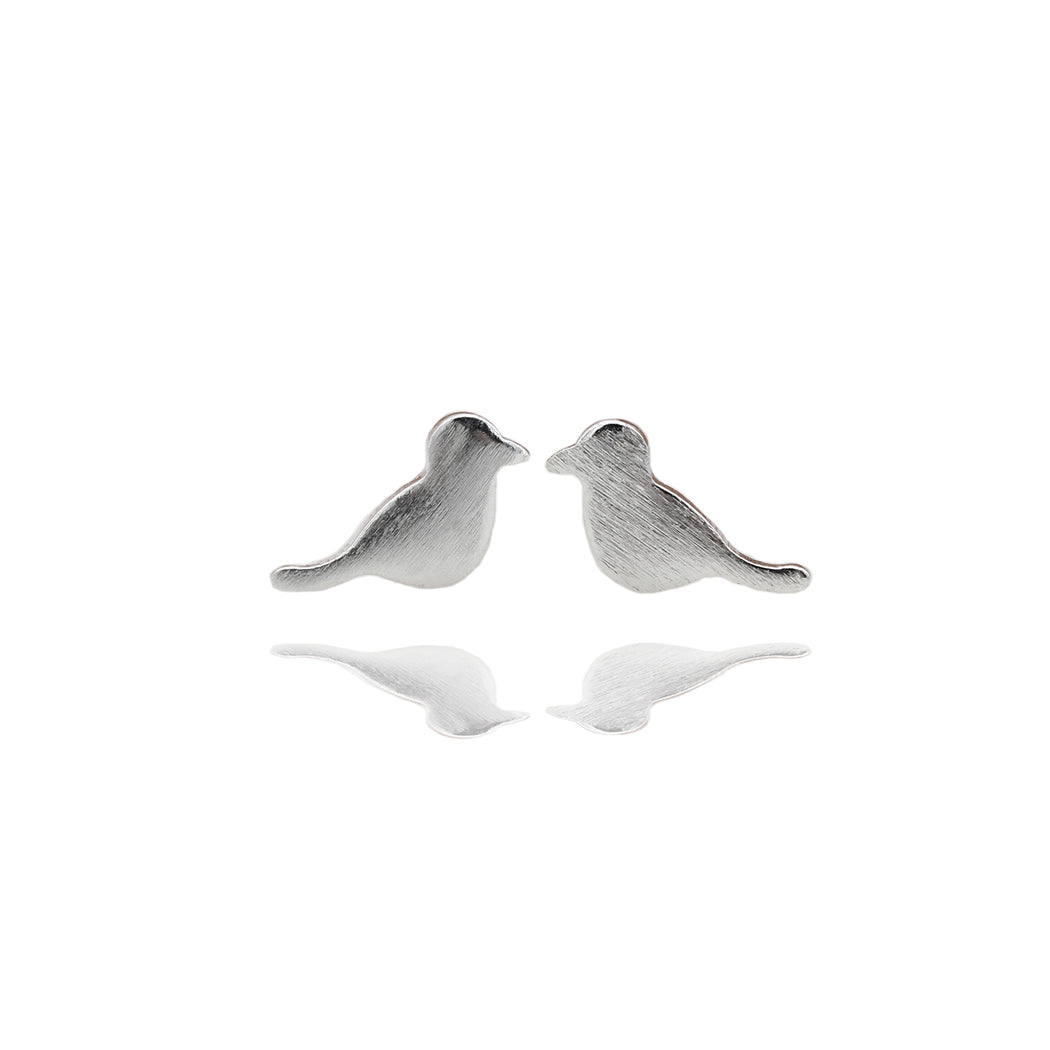 Sterling Silver Sitting Bird Stud Earrings