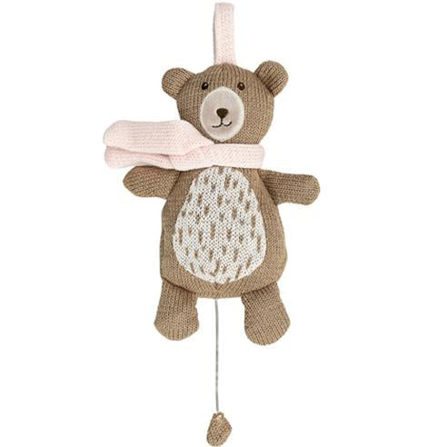 Lullaby Knitted Bear with pink scarf