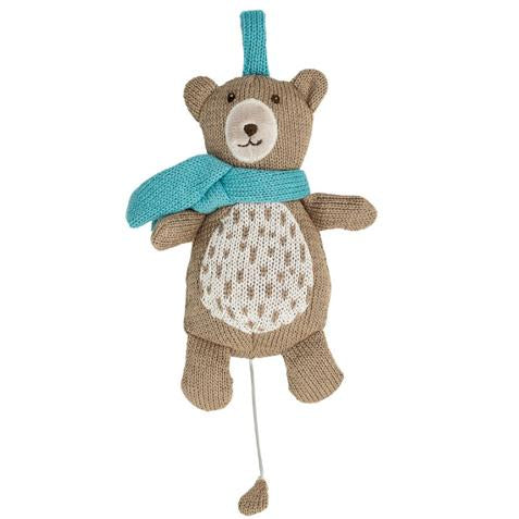 Lullaby Knitted Bear with blue scarf