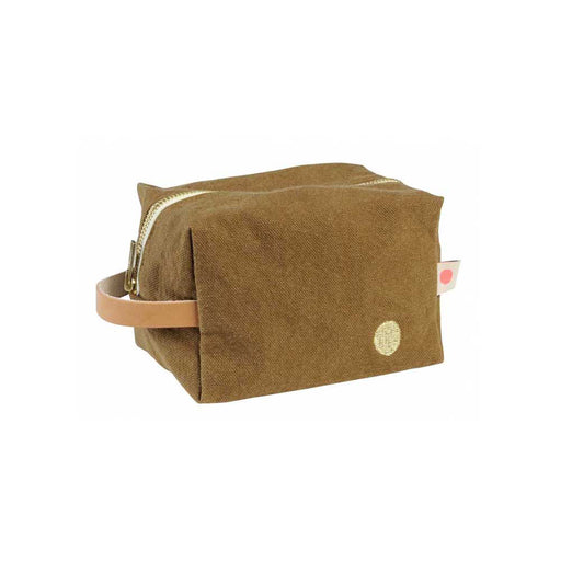 Brown Cotton Iona Cube Pouch in Tabac