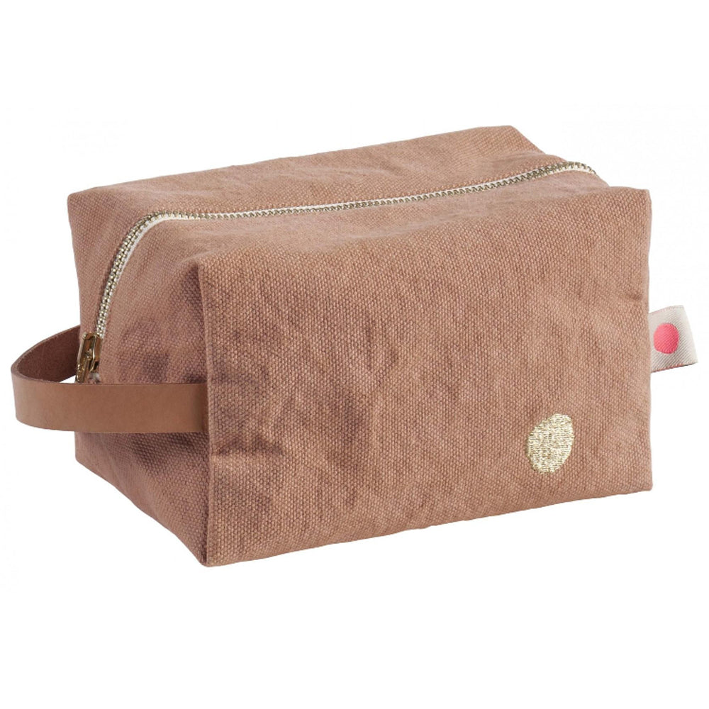 Peach Cotton Iona Cube Pouch in Litchi