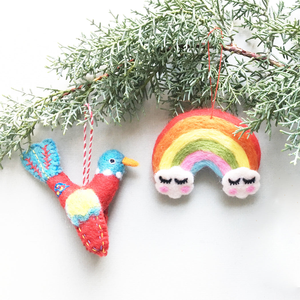 Small Multicoloured Felt Rainbow Christmas Decoration