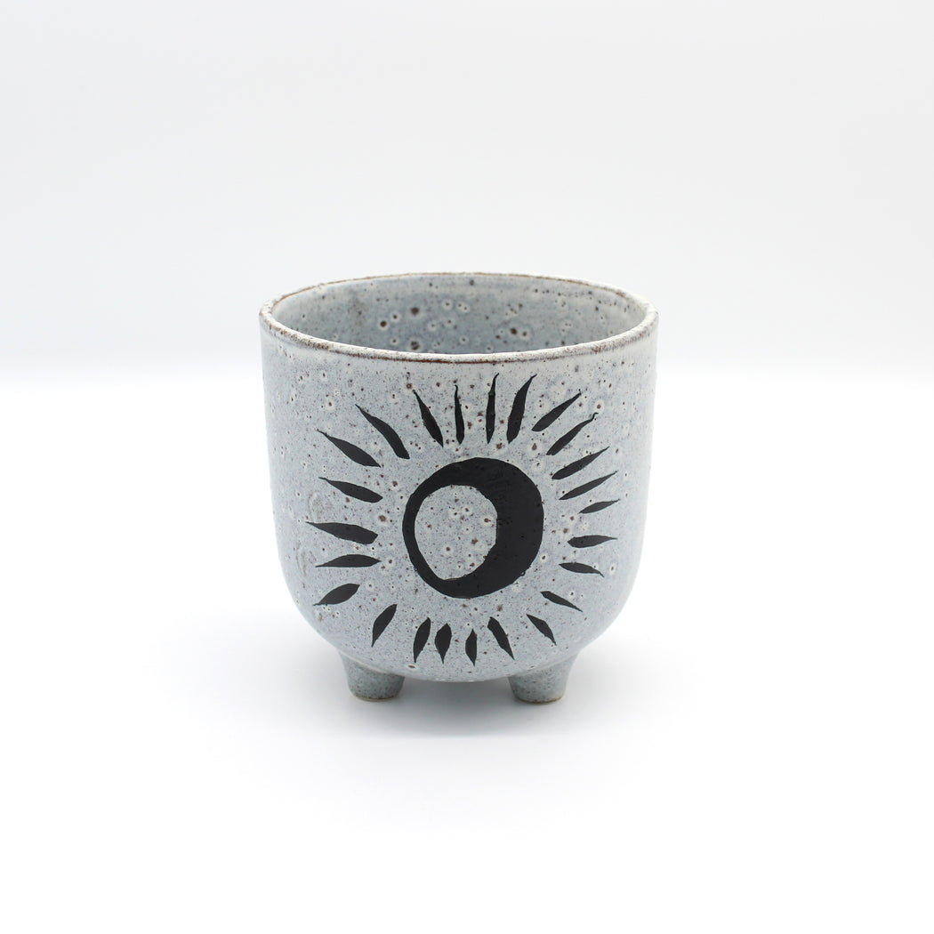 Black Moon On A Grey Speckled Glaze Plant Pot With Three Feet