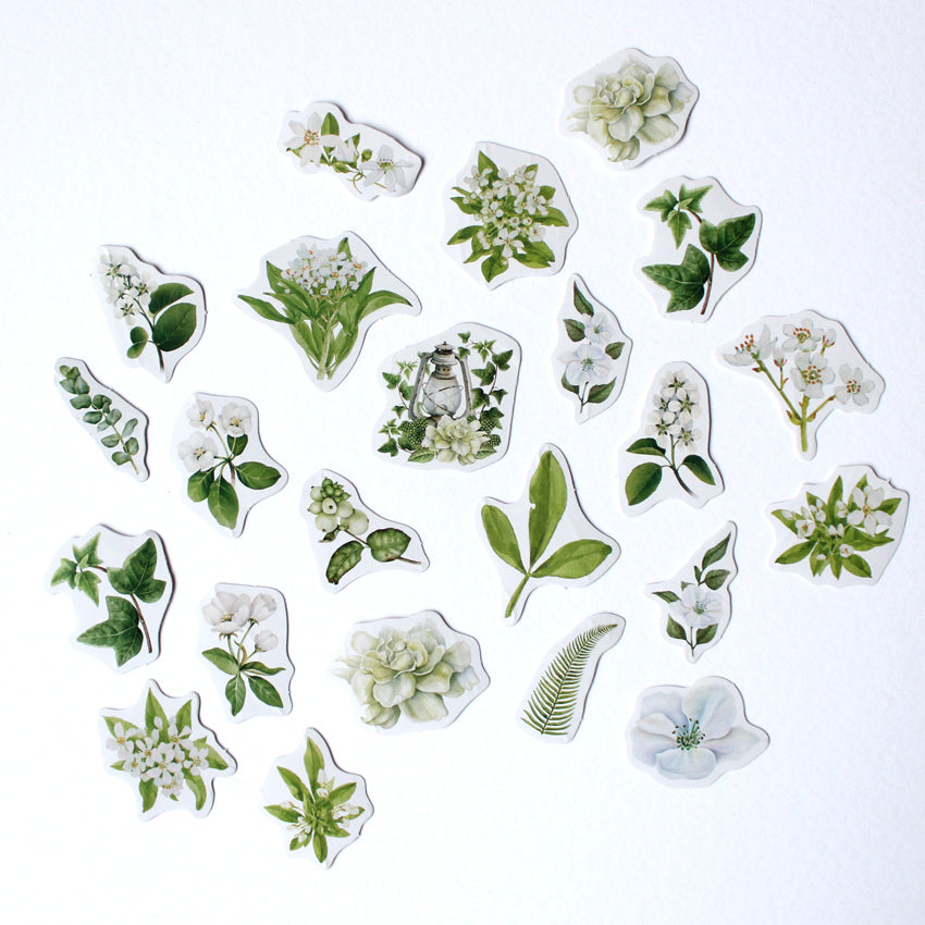 Kawaii White Blooms Sticker Set