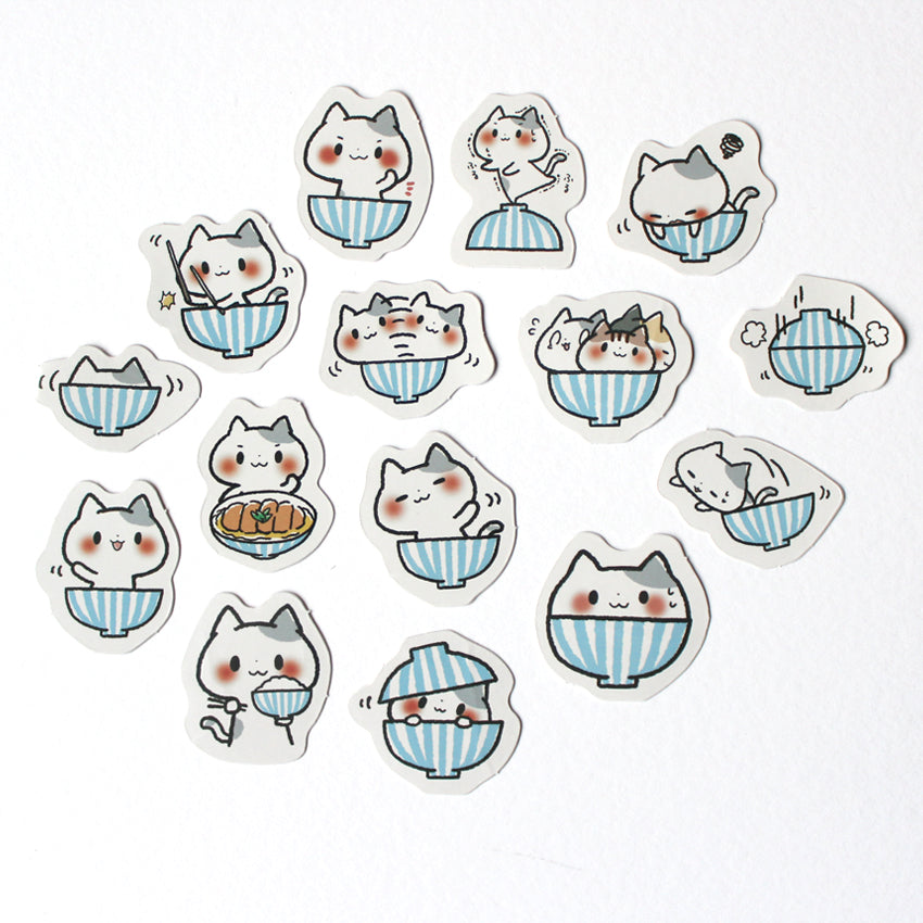 Kawaii Noodle Cat Sticker Set