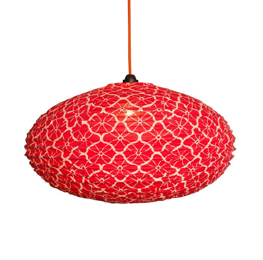 Small 60cm Cream and Red Lotus Cotton Pendant Lampshade