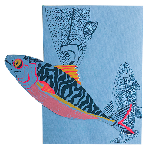 Mackerel Screen Printed & Die Cut Card
