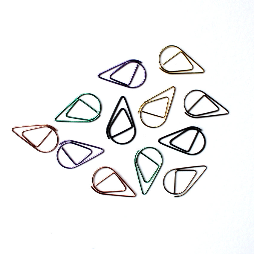 A Set of 12 Metallic Drop Paperclips
