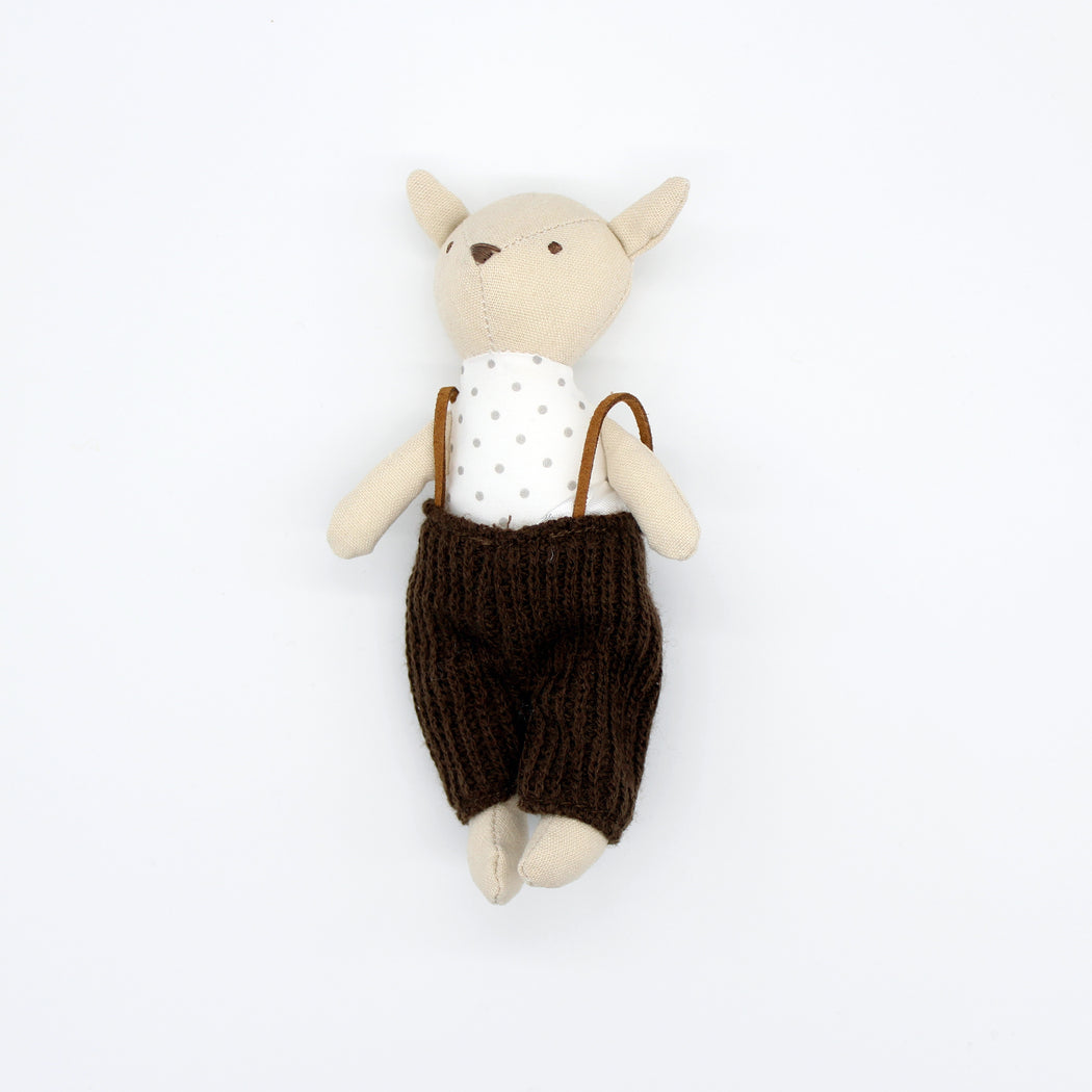 Mini Bear In Dungarees Soft Toy