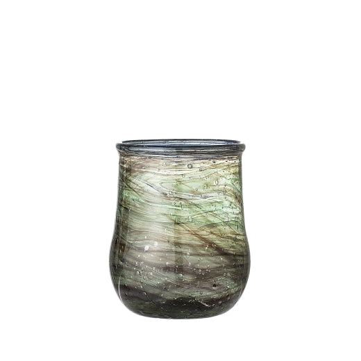 Green & Blue Swirled Glass Votive