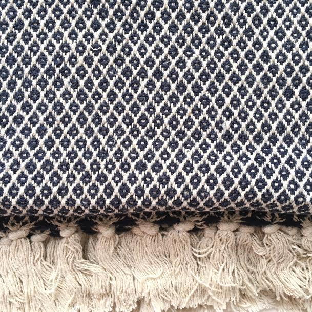 Navy Blue and Cream Diamond Recycled CottonThrow