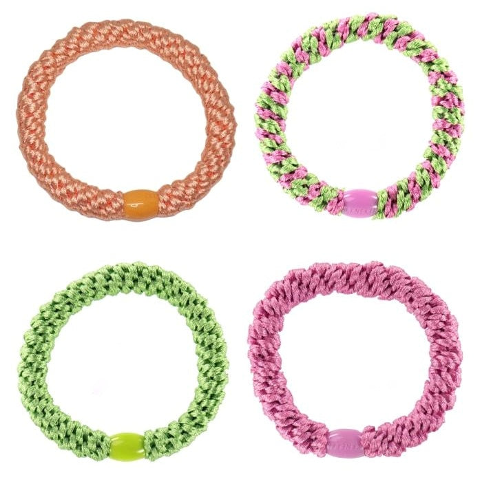 Set Of 4 Grass Green & Pink Kknekki Hair Ties
