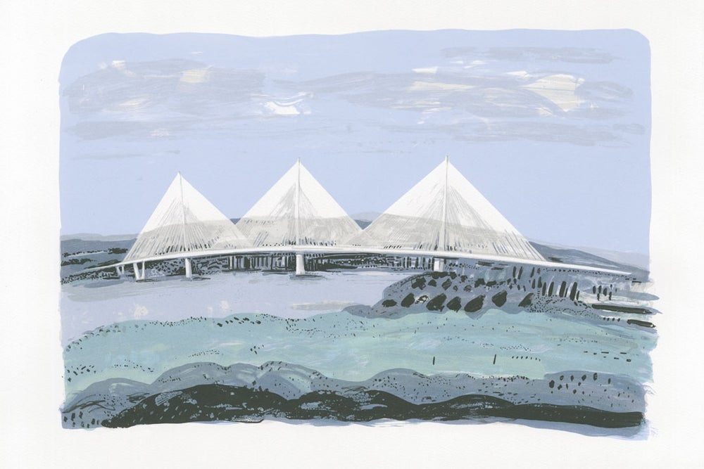 Queensferry Crossing Hand Pulled Screen Print