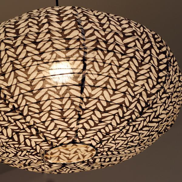 Large 80cm Cream and Brown Rice Cotton Pendant Lampshade